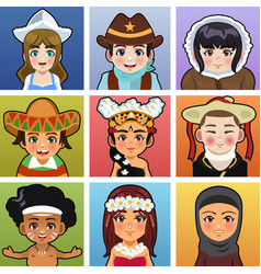 children from different parts of the world vector image