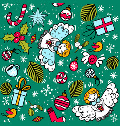 christmas pattern with angel sweets balls vector image