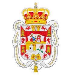 Coat arms granada city in andalusia spain vector