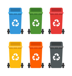 Colorful dumpsters set garbage cans ecology and vector