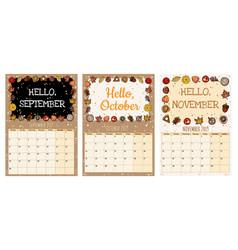 Cute cozy hygge 2019 autumn calendar planner with vector