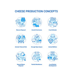 Dairy industry turquoise concept icons set vector