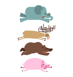 Dead animals set 2 elephant and deer bear and pig vector