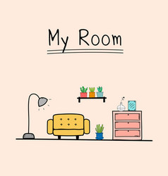 doodle living room vector image