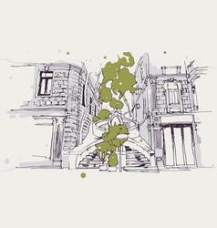 Drawing sketch kamondo stairs in galata vector