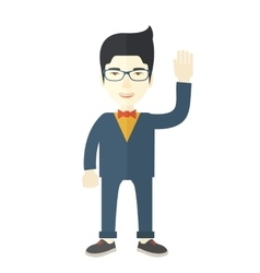 Failure chinese businessman standing waving his vector