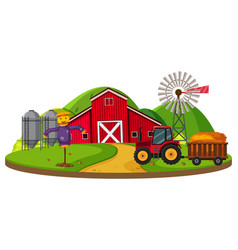 Farm scene with red barn vector