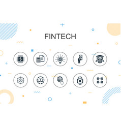 Fintech trendy infographic template thin line vector