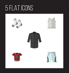 Flat clothes set of uniform foot textile t-shirt vector