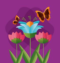 flowers butterflies spring vector image