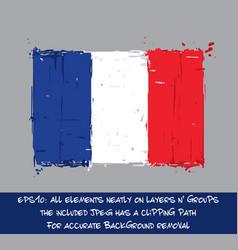 french flag flat - artistic brush strokes vector image