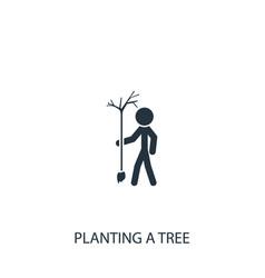 Gardener planting tree icon simple gardening vector