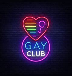 Gay club neon sign logo in neon style light vector