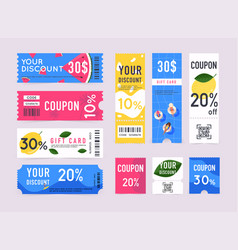 gift voucher with coupon code sale labels vector image