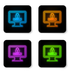 glowing neon monitor with password notification vector image