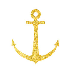 gold glitter sparkle anchor isolated on white vector image