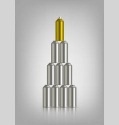 Golden and silver graffiti spray can vector