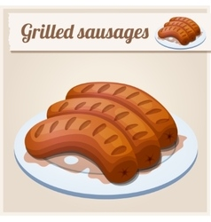 Grilled sausages Detailed Icon vector image