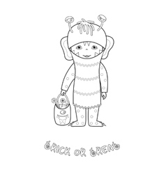 Halloween coloring page with cute monster vector image