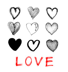 hand drawn heart love icon on white background vector image
