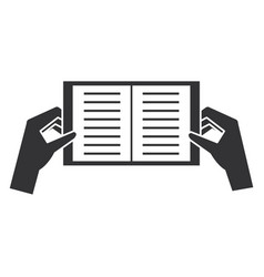 Hands with book icon vector