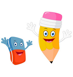 happy pencil with eraser cartoon vector image