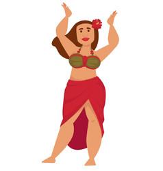Hawaiian girl plump woman in swimsuit and flower vector