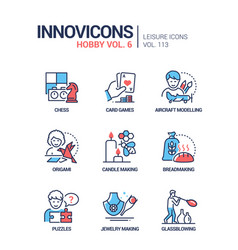 hobby and activities - line design style icons set vector image