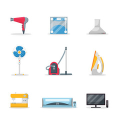 Household appliances flat set vector
