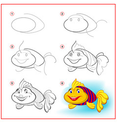 How to draw cute toy fish educational page vector