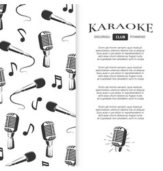 karaoke club brochure design - musical banner with vector image
