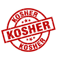 Kosher round red grunge stamp vector