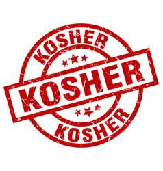 Kosher round red grunge stamp vector