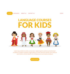 Language courses for kids landing page template vector
