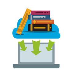 Laptop with pile ebooks technology vector
