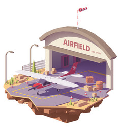 Low poly airfield with hangar and airplane vector
