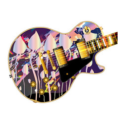 magic mushroom guitar vector image