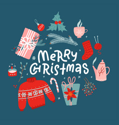 merry christmas concept new year toys gifts vector image