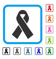 Mourning ribbon framed icon vector
