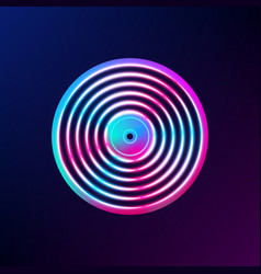 neon vinyl record album cover or template for vector image