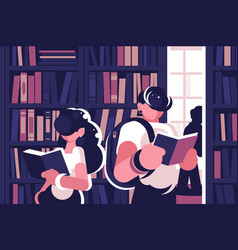 People read in library vector
