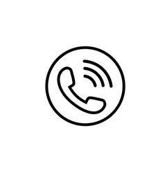 phone line icon in black with waves vector image
