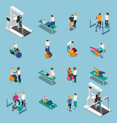 Physiotherapy rehabilitation isometric people vector