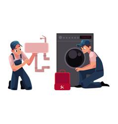 Plumbing specialist plumber repairman fixing vector
