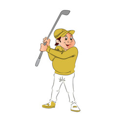 portrait of male golfer holding a club vector image