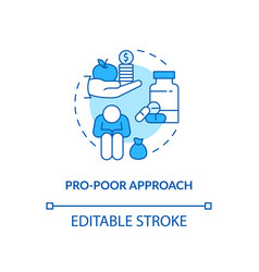 Pro poor approach concept icon vector