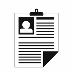 Resume icon in simple style vector