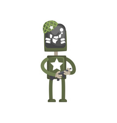 robot military character android in green uniform vector image