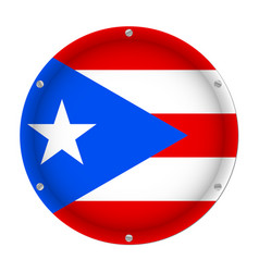 round metallic flag of puerto rico with screws vector image