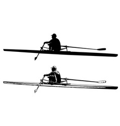 Rower skaetch and silhouette vector